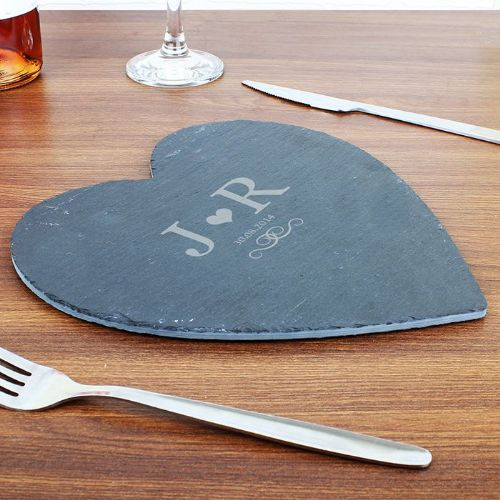 Personalised Monogram Slate Heart Placemat